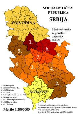 Србија у Југославији - међуопштинске заједнице и покрајине