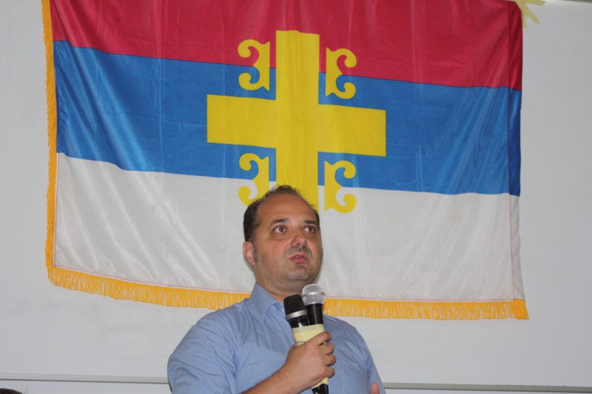 Александар Раковић, аутор књиге Црногорски сепаратизам, говори на промоцији.