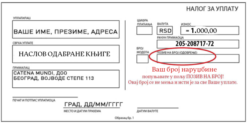 Уплатница за начин плаћања: претплата