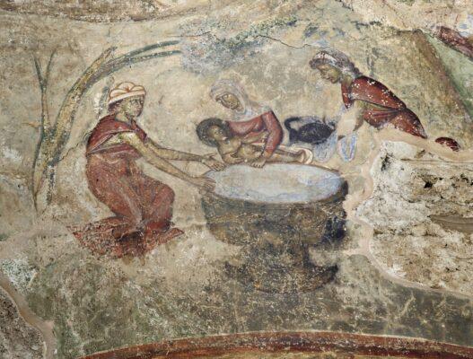 Купање Богомладенца, манастир Градац, 13. век [Христос се роди, срећан Божић]